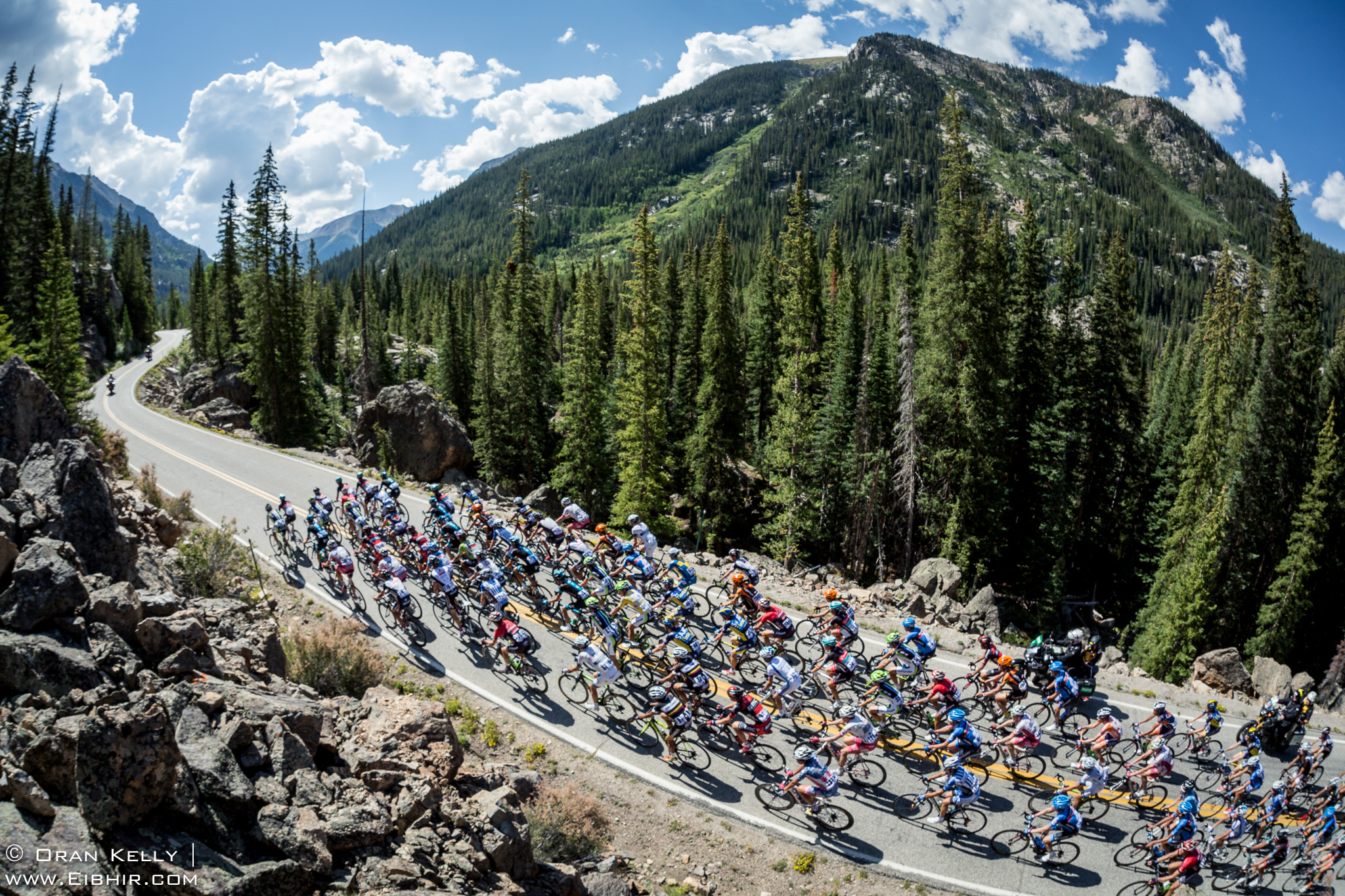 2013 USA Pro Challenge Stage02 Peloton climbing towards Independence Pass after starting in Aspen
